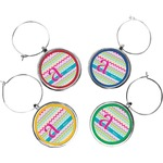 Colorful Chevron Wine Charms (Set of 4) (Personalized)
