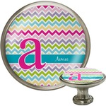 Colorful Chevron Cabinet Knob (Silver) (Personalized)