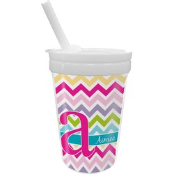Colorful Chevron Sippy Cup with Straw (Personalized)