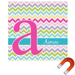 Colorful Chevron Square Car Magnet (Personalized)