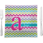 "Colorful Chevron Glass Square Lunch / Dinner Plate 9.5"" - Single or Set of 4 (Personalized)"