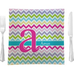 """Colorful Chevron Glass Square Lunch / Dinner Plate 9.5"""" - Single or Set of 4 (Personalized)"""