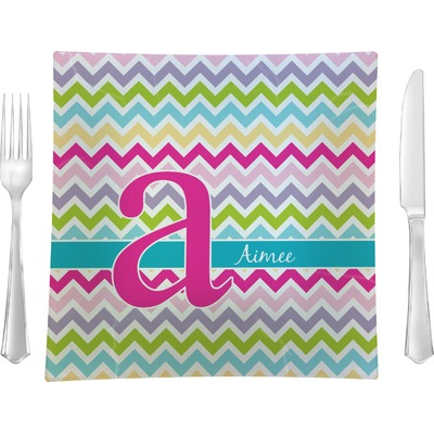 "Colorful Chevron 9.5"" Glass Square Lunch / Dinner Plate- Single or Set of 4 (Personalized)"