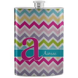 Colorful Chevron Stainless Steel Flask (Personalized)