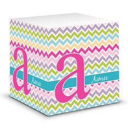 Colorful Chevron Sticky Note Cube (Personalized)