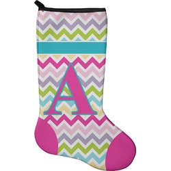 Colorful Chevron Christmas Stocking - Neoprene (Personalized)