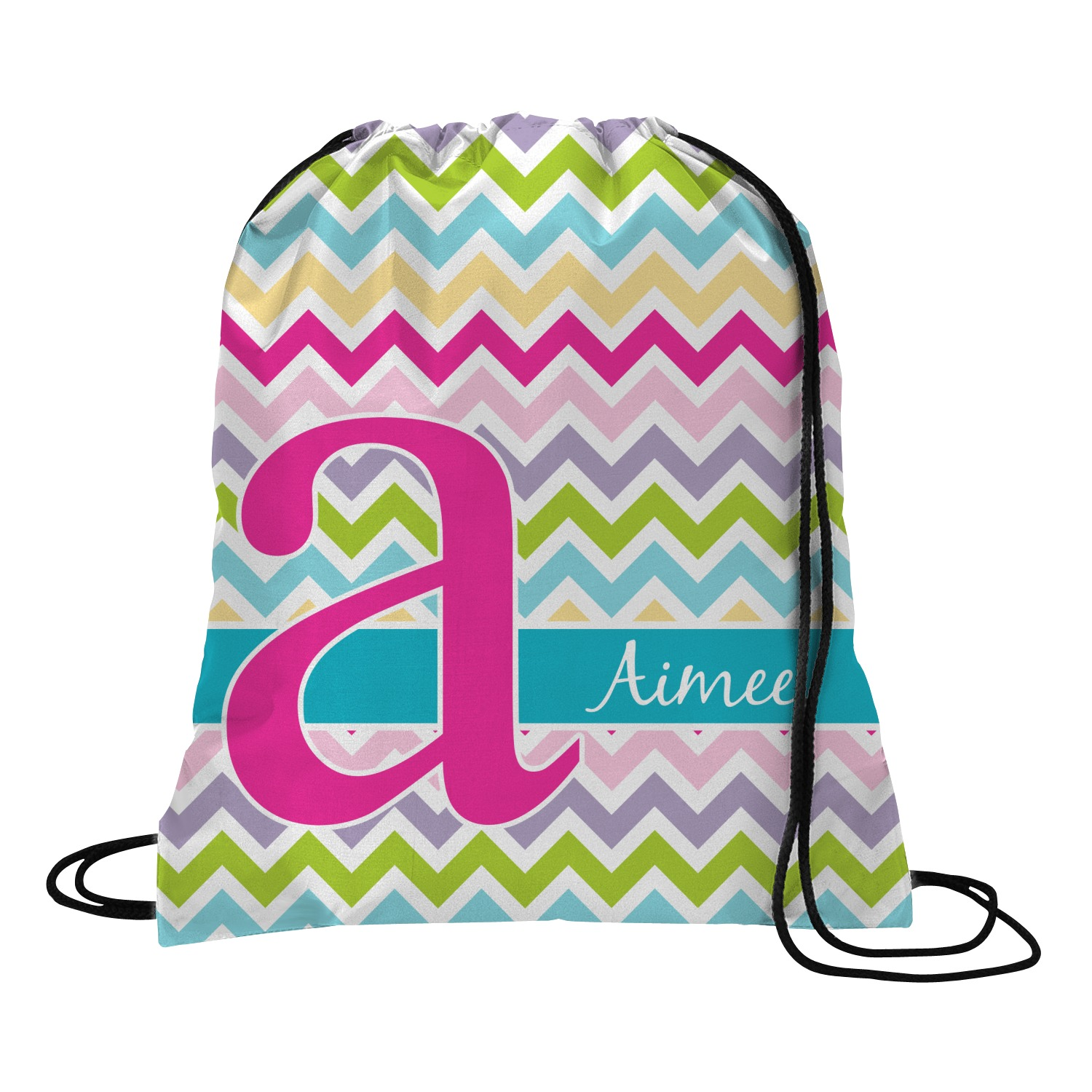 Drawstring Backpack Colorful Chevron Rucksack