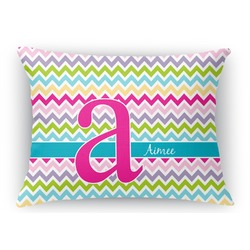Colorful Chevron Rectangular Throw Pillow Case (Personalized)