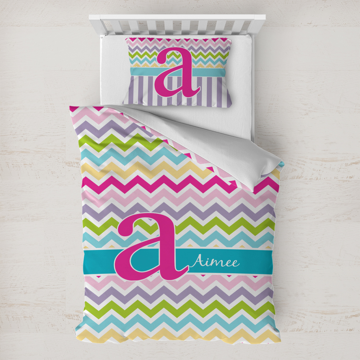 Colorful Chevron Duvet Cover Set Toddler Personalized