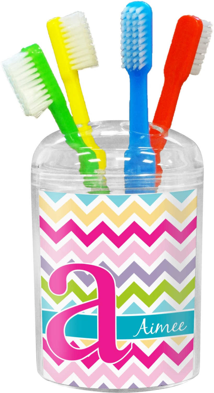 Colorful chevron bathroom accessories set personalized for Colourful bathroom accessories