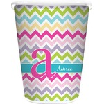 Colorful Chevron Waste Basket - Single Sided (White) (Personalized)