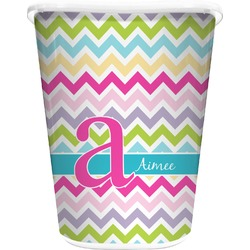 Colorful Chevron Waste Basket - Double Sided (White) (Personalized)