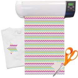 "Colorful Chevron Heat Transfer Vinyl Sheet (12""x18"")"