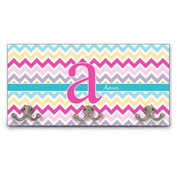 Colorful Chevron Wall Mounted Coat Rack (Personalized)