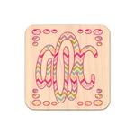 Colorful Chevron Genuine Maple or Cherry Wood Sticker (Personalized)