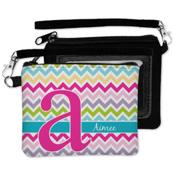 Colorful Chevron Wristlet ID Case w/ Name and Initial