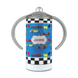 Checkers & Racecars 12 oz Stainless Steel Sippy Cup (Personalized)