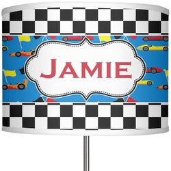 "Checkers & Racecars 13"" Drum Lamp Shade (Personalized)"