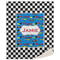 """Checkers & Racecars Sherpa Throw Blanket - 50""""x60"""" (Personalized)"""