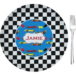 "Checkers & Racecars Glass Appetizer / Dessert Plates 8"" - Single or Set (Personalized)"