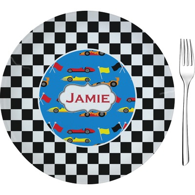 """Checkers & Racecars 8"""" Glass Appetizer / Dessert Plates - Single or Set (Personalized)"""