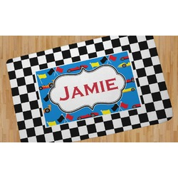 Checkers & Racecars Area Rug (Personalized)