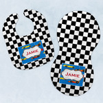 Checkers & Racecars Baby Bib & Burp Set w/ Name or Text