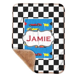 "Checkers & Racecars Sherpa Baby Blanket 30"" x 40"" (Personalized)"