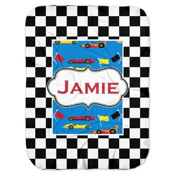 Checkers & Racecars Baby Swaddling Blanket (Personalized)