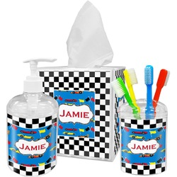 Checkers & Racecars Acrylic Bathroom Accessories Set w/ Name or Text