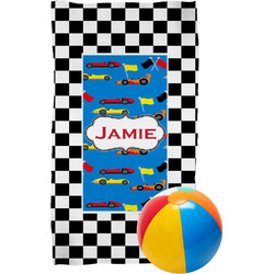 Checkers & Racecars Beach Towel (Personalized)