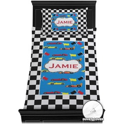 Checkers & Racecars Duvet Cover Set - Toddler (Personalized)