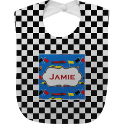 Checkers & Racecars Baby Bib (Personalized)