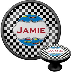 Checkers & Racecars Cabinet Knob (Black) (Personalized)