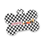 Checkers & Racecars Bone Shaped Dog Tag (Personalized)