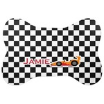 Checkers & Racecars Bone Shaped Dog Food Mat (Personalized)