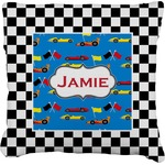 Checkers & Racecars Faux-Linen Throw Pillow (Personalized)