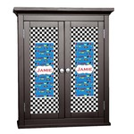 Checkers & Racecars Cabinet Decal - Custom Size (Personalized)
