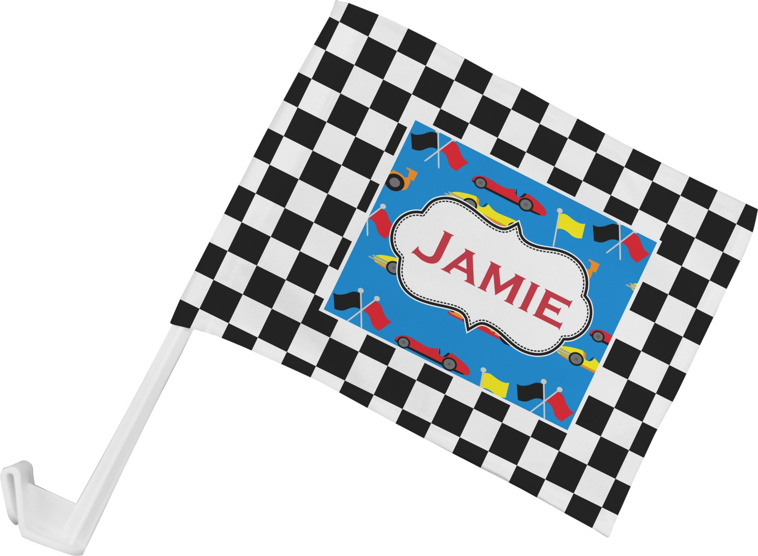Checkers Amp Racecars Car Flag Personalized Youcustomizeit