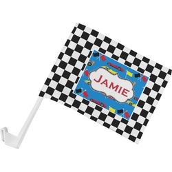 Checkers & Racecars Car Flag (Personalized)
