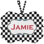 Checkers & Racecars Rear View Mirror Decor (Personalized)