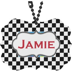 Checkers & Racecars Rear View Mirror Charm (Personalized)