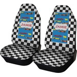 Checkers & Racecars Car Seat Covers (Set of Two) (Personalized)