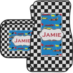 Checkers & Racecars Car Floor Mats Set - 2 Front & 2 Back (Personalized)