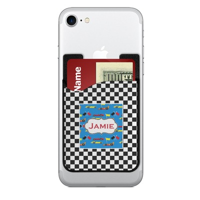 Checkers & Racecars 2-in-1 Cell Phone Credit Card Holder & Screen Cleaner (Personalized)