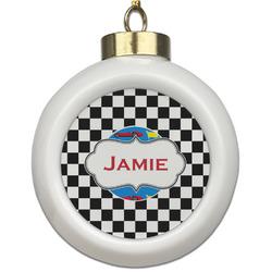 Checkers & Racecars Ceramic Ball Ornament (Personalized)