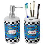 Checkers & Racecars Ceramic Bathroom Accessories Set (Personalized)