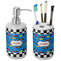 Checkers & Racecars Bathroom Accessories Set (Ceramic) (Personalized)