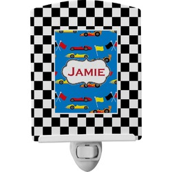 Checkers & Racecars Ceramic Night Light (Personalized)
