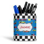 Checkers & Racecars Ceramic Pen Holder